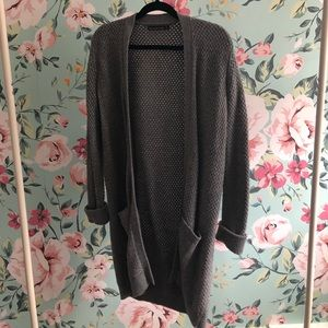 Abercrombie Grey Textured Open Front Sweater